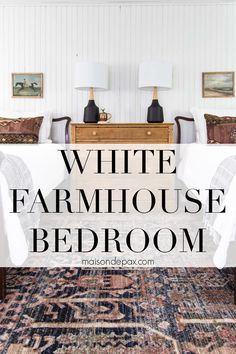 Gorgeous white farmhouse bedroom with a mix of modern and vintage. Great twin bedroom ideas for girls or guests! #maisondepax #bedroom #bedroominspo White Farmhouse, Bedroom Inspo, Modern Bedroom, Modern Rustic, Girls Bedroom, Home Decor, Home, Bedroom Modern, Modern Master Bedroom