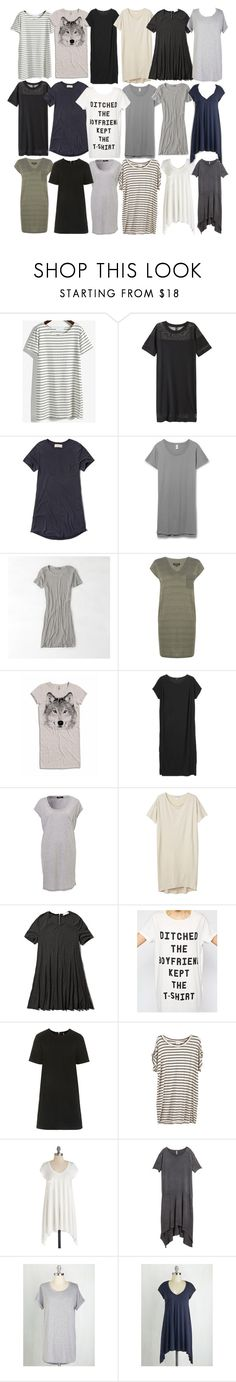 """Malia Inspired Affordable T-Shirt Dresses"" by veterization ❤ liked on Polyvore featuring H&M, Abercrombie & Fitch, American Eagle Outfitters, Warehouse, Monki, MINKPINK and Topshop"