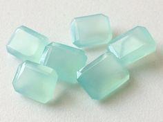 6 Pcs Aqua Chalcedony Emerald Cut Aqua Blue by gemsforjewels
