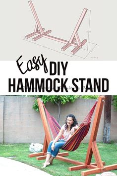 Easy DIY Hammock Stand Using 3 Tools - Full Tutorial, Video and Plans - DIY Projects This is so easy and awesome! Easy and simple DIY Hammock stand! How to build a wooden hammock stand. There are plans, video and a full tutorial to make this! Diy Garden Furniture, Diy Outdoor Furniture, Kitchen Furniture, Porch Furniture, Farmhouse Furniture, Outdoor Rooms, Outdoor Gardens, Bedroom Furniture, Farmhouse Decor
