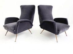 Pair of deep grey velvet armchairs ISAItaly1950 approx.