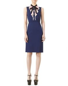 W0CX2 Gucci Sleeveless Jersey Dress with Ruffle Front