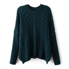 ZLYC Women's Classic Cable Knit Batwing Sleeves Pullover Sweater (Dark green) at Amazon Women's Clothing store: