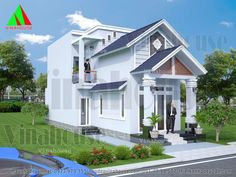 hình ảnh 3D Nhà cấp 4 có gác lửng mặt tiền mái thái đẹp Simple House Design, Home Fashion, Lunges, Small Spaces, House Plans, Home And Garden, Exterior, Mansions, House Styles