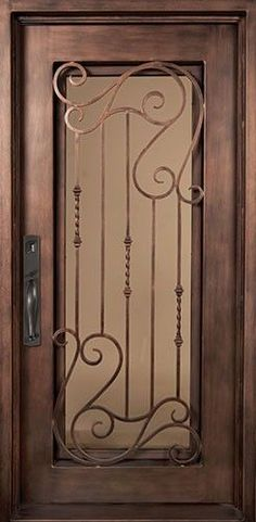 40x98 Affinity Iron Door. Beautiful wrought iron front entry door with grille from Door Clearance Center.: