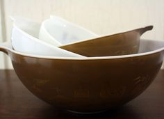 Set of 4 Pyrex Milk Glass Early American by LittleRedHenONLINE, $65.00