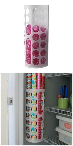 30 Coolest IKEA Hacks We've Ever Seen The Variera plastic bag dispenser turns into a wrapping paper holder in this easy IKEA hack.The Variera plastic bag dispenser turns into a wrapping paper holder in this easy IKEA hack. Organisation Hacks, Home Organization, Organizing Tips, Organising, Ikea Hacks, Diy Hacks, Ikea Furniture Hacks, Furniture Dolly, Furniture Projects