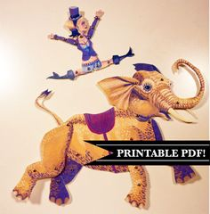 DIY Circus Elephant & Lady Printable PDF Paper Puppet Doll Set, Yellow, Purple For Paper Play, Paper Crafts by ArtistInLALALand on Etsy https://www.etsy.com/listing/118541348/diy-circus-elephant-lady-printable-pdf