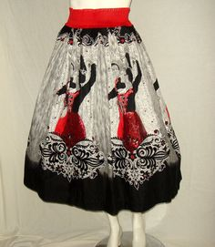 Vintage 1950s Sequined Novelty Skirt with Flamenco Dancers