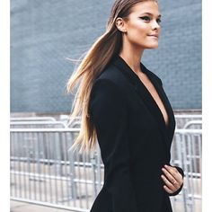 Suit up: model Nina Agdal is #SoDVF wearing our sleek smoking jacket