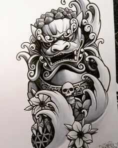 Kind of wondering if Kira could be incorporated as a Foo Dog. Asian Tattoos, Trendy Tattoos, Leg Tattoos, Body Art Tattoos, Japanese Tattoo Art, Japanese Tattoo Designs, Japanese Sleeve Tattoos, 1 Tattoo, Tattoo Drawings