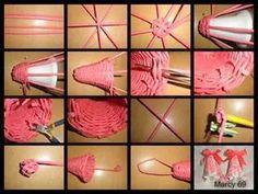 Campana Newspaper Flowers, Newspaper Basket, Newspaper Crafts, Paper Weaving, Weaving Art, Toilet Paper Crafts, Diy Paper, Willow Weaving, Basket Weaving