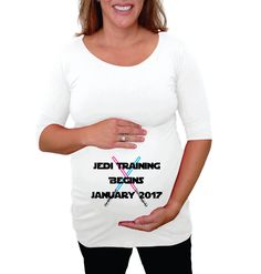 "Maternity Top  ""Jedi Training begins----""   - Personalized White maternity shirt, pregnancy clothes- plus size available. by DJammarMaternity on Etsy"