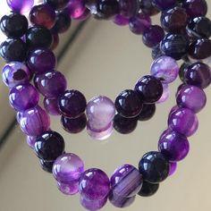 Purple Gemstone Beads - Choose or Striped Agate Purple Beads -Purple Agate Gemstone Be Swarovski Crystal Beads, Crystals, Purple Agate, Agate Gemstone, Dark Purple, Light In The Dark, Gemstones, Beautiful, Etsy