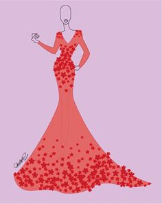 Christopher Paunil's red dress sketch for HGTV Host and model at this year's Fashion Show, Sandra Rinomato.