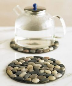Riverstone Trivets - Add riverstones to piece of felt.