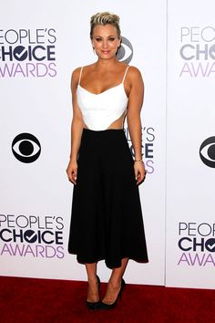 The Best Dressed From Last Night's People's Choice Awards #refinery29  http://www.refinery29.com/2015/01/80433/peoples-choice-awards-red-carpet-pictures#slide-12  Kaley Cuoco-Sweeting also went two-tone, but took the colorblocked route in Peggy Hartanto.