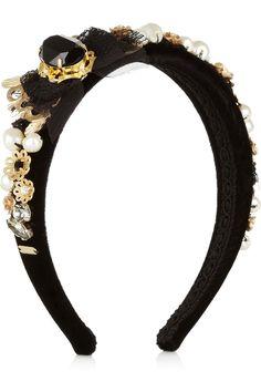 Dolce & Gabbana|Embellished velvet headband