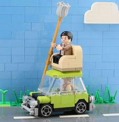 Even in LEGO, Mr. Bean travels in comfort