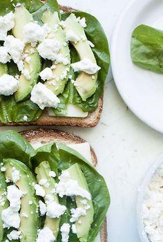 avocado, feta, spinach sandwich