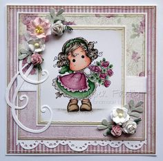 Floral pink handmade card featuring Tilda hiding rose bouquet by Magnolia Rubberstamps.just awesome! Hand Made Greeting Cards, Making Greeting Cards, Scrapbooking, Scrapbook Cards, Pretty Cards, Cute Cards, Card Tags, I Card, Magnolia Colors