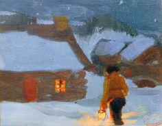 Eutrope Gagnon (Étude pour Maria Chapdelaine c. - Clarence A. Canadian Painters, Canadian Artists, Winter Art, Winter Time, Nocturne, Watercolor Landscape, Landscape Art, Clarence Gagnon, Impressionist Paintings