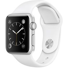 Apple Watch Sport 38mm Silver Aluminium Case with White Sport Band ($340) ❤ liked on Polyvore featuring jewelry, watches, white wrist watch, sports wrist watch, silver wrist watch, silver jewelry and sport watches