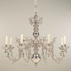 Ghent Chandelier Nickel, 8 Lights Item Code (old): CLA45/N Item Code (new): CL0145.NI InchesCentimetres Height:39.5100.50 Width:44.00112.00