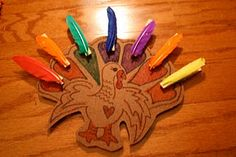Turkey clothespins/feathers color matching.