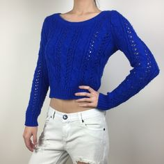 Hollister Electric Blue Sweater See-through knits. Very good condition. Hollister Sweaters Crew & Scoop Necks