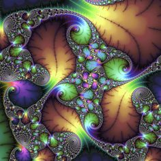 Math Art at its best: beautiful fractal artwork with golden / brown, green, purple and blue elements, stunning colors, square format. Available as poster, framed fine art print, metal, acrylic or canvas print. (c) Matthias Hauser hauserfoto.com #interiordesign #homedecor