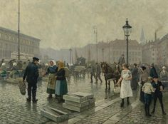 Paul Gustav Fischer - The Fish Market at Gammelstrand, Copenhagen [1919]