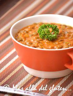 Más allá del gluten...: Lentejas con Tomates y Curry (Receta GFCFSF, Vegana)