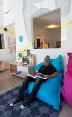 This is an office. For a wall decals company. They have beanbags. Yeah, we're jealous.