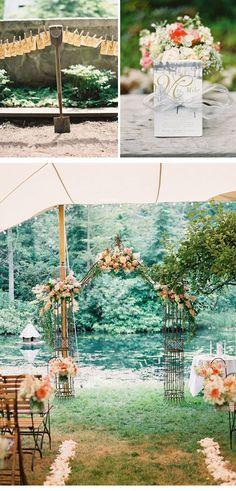 Sehr schöne Dekoideen für eine vintage Hochzeit- Trauung im Freien