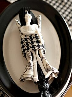 Rest-in-Peace Napkin Ring. Rubber skeletons added at each setting.