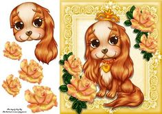 Beautiful Golden King Charles 8x8 on Craftsuprint designed by Amy Perry - Beautiful Golden King Charles 8x8 in lovely golden lace frame with corner roses, also has decoupage - Now available for download!