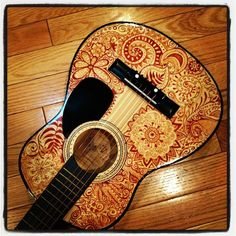 hand painted guitar by AhavaMoon on Etsy //// Awesome! Ukulele Art, Guitar Art, Music Guitar, Cool Guitar, Gypsy Guitar, Guitar Room, Hipsters, Guitar Painting, Diy Painting