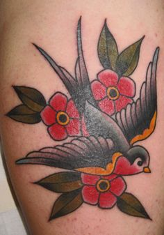 mark-lonsdale-tattoo-bondi-sydney-traditional-swallow-flowers