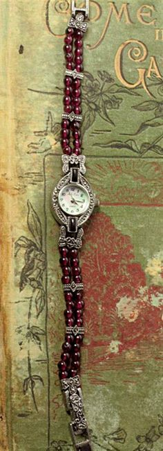 Victorian Trading Co. Beaded Watches, Jewelry Watches, Bead Making Tutorials, Vtc, Romantic Outfit, Beautiful Watches, Pearl Beads, Watch Bands, Garnet