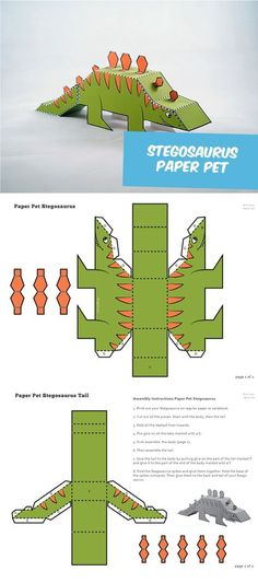 Create your own paper pet Stegosaurus. Great paper craft for