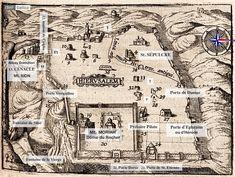 Plan de Jérusalem orienté à l'ouest. Jean ZUALLART (1541-1634) Historien, voyageur et magistrat. Chevalier du Saint Sépulcre; il écrivit aussi en italien sous le nom de Giovanni ZUALLARDO. data.bnf.fr. Gravure extraite du TRÈS DÉVOT VOYAGE DE JERUSALEM,  Extraits de L'ITINÉRAIRE de F.R. de Chateaubriand