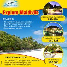 Explore #Maldives  booking call @ +91 9874930112  or Email us at :travels.aakash@gmail.com