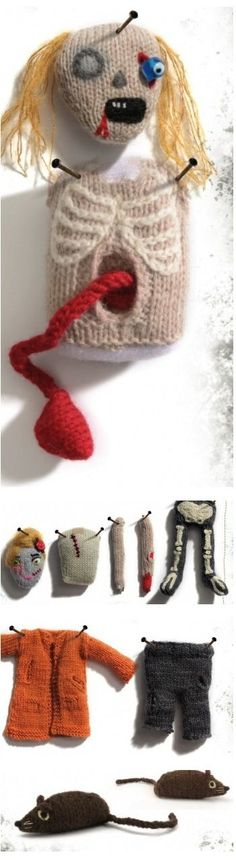 Hello Halloween, Classic Zombie Doll, free knitting pattern
