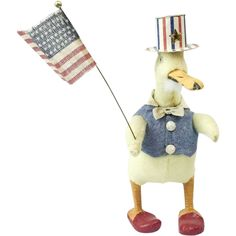 """1930s German Cotton Patriotic Duck Candy Container 7 3/4"""""""