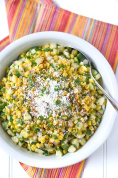 Simply Whisked - Mexican Street Corn and Cucumber Salad - Simply Whisked Salad Recipes Healthy Lunch, Fruit Salad Recipes, Corn Recipes, Chicken Salad Recipes, Side Dish Recipes, Mexican Food Recipes, Chicken Salads, Healthy Eating, Mexican Street Corn Salad