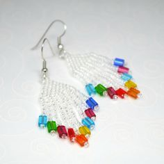 Rainbow Earrings, Colorful Beaded Crystal White Dangles no pattern but cool Seed Bead Earrings, Beaded Earrings, Beaded Jewelry, Handmade Jewelry, Unique Earrings, Seed Beads, Beading Projects, Beading Tutorials, Beaded Crafts