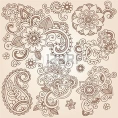 Henna Paisley Flowers Mehndi Tattoo Doodles Set- Abstract Floral Vector Illustration Design Elements photo