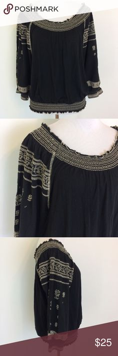 """Free People Black Embroidered Peasant Top Free People Black Embroidered Peasant top. Size small. 100% viscose. Length is 23"""". Free People Tops"""