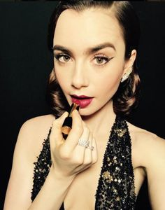 Feeling Berry Noir for tonight's @VanityFair Oscar party...@LilyjCollins #LancomeLipstick